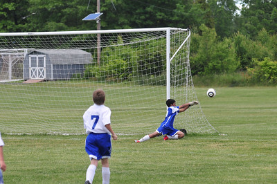 Goalie dives and saves...