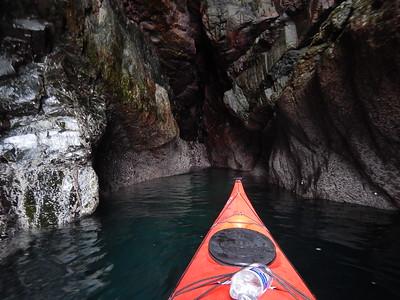 Entering a sea cave