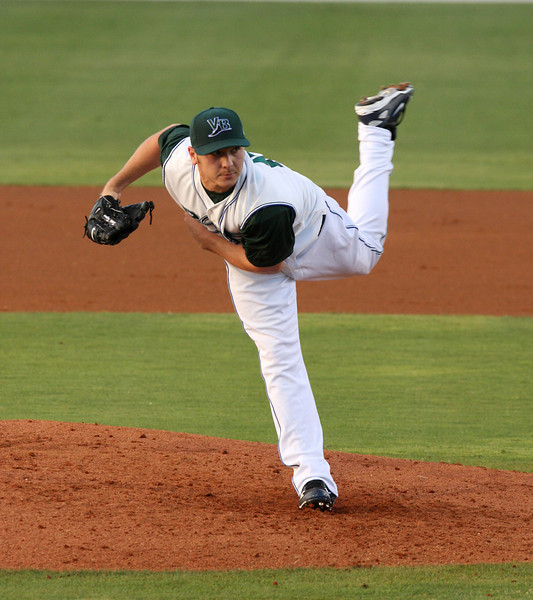 Scott Kazmir throws the first pitch of the game during Friday evenings match up between the Vero Beach Devil Rays and the Saint Lucie Mets held at Holman Stadium in Vero Beach.