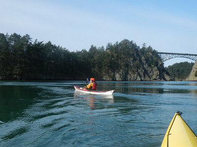 Tina with Deception Pass bridge in background.