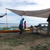 Group effort setting up Oskar's new 18 ' Kelty tarp