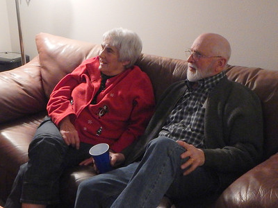 Sue and Bob Sampson watching the video