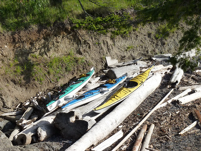 Our kayaks, high and dry and out of the way of the high tide
