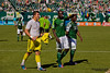 PORTLAND, OR - SEPT 15: The Portland Timbers team greets funs after rally for 1-1 draw in Seattle Sounders vs Portland Timbers game, on Sep 15, 2012 at Jeld-Wen Field in Portland, OR.