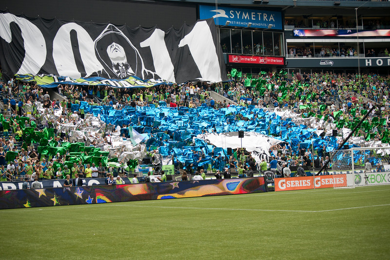 The ECS (Emerald City Supporters) start to unfurl their first home-field Tifo of the Cascadia Cup.