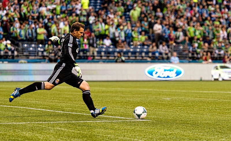 Dan Kennedy spikes a goal kick.