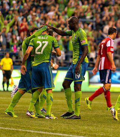 The boys celebrate the goal