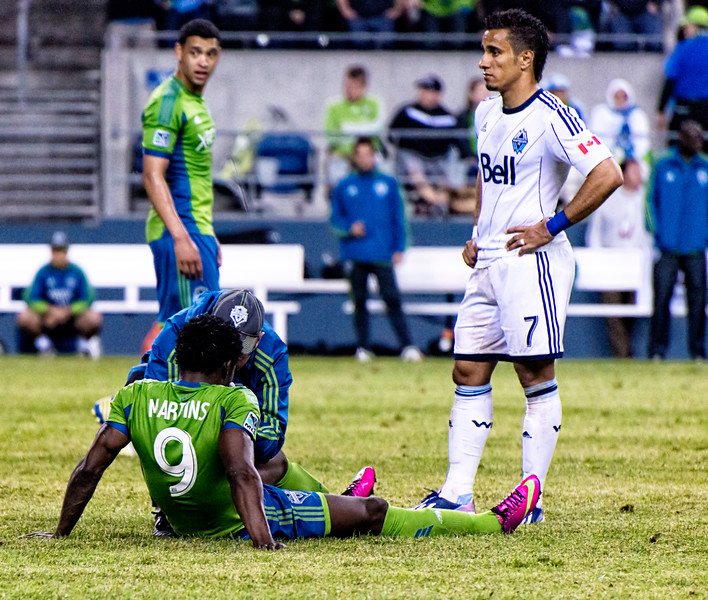 Obafemi Martins, downed from a hit to the face.