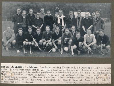 19291027 Onderschrift: zie foto.  Opmerking: hoogstwaarschijnlijk de wedstrijd op 27 oktober 1929.  Zie Deventer Dagblad 28 oktober 1929.   CollectieJanBlomgrijsblauw