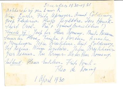 19300401 Achterzijde foto dansles. Zie daar verder
