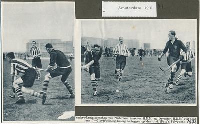 19310419 Onderschrift: zie foto Opmerking: wedstrijd om het landelijk kampioenschaop op 19 april 1931 tegen HDM in Amsterdam. 1-0 voor HDM. Frits drijver met handen verkeerd om.   Archief DHV Album Drijver Fotograaf; Polygoon  Formaat: 8 x 13 en 13 x 9  Afdruk zw