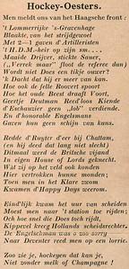 19310319 Onderschrift: geen. Geplakt bij foto in Zutphen na zege op HDM op 21 maart 1931 Opmerking: geknipt uit Hockeysport Donderdag 19 maart 1931 pag. I Dit niet n.a.v. de 2-0 overwinning op HDM op 21 maart 1931, maar grotendeels n.a.v. de wedstrijd op 15 maart 1931 waaraan Frits Drijver meedeed bij HDM. HDM tegen Honorable Artillery Company inderdaad 1-2.  Een uitvoerig verslag in Hockeysport 2 april 1931. De derde zin van onderen over de lorrie mogelijk verband met de laatste alinea in dit verslag: We willen niet verklappen welke speler op het perron in een bagagewagen werd rondgereden en alleen door het kloek ingrijpen van een witkiel gespaard bleef voor een ritje op de rails.   Archief DHV Album Drijver