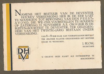 19331111 Onderschrift: geen  Opmerking: uitnodiging lustrum 1933  CollectieJanBlomgrijsblauw Formaat: 14 x 9