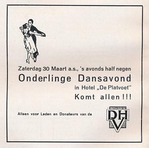19350330 Uit Clubnieuws  Maart 1935  Aankondiging Dansavond  Formaat: 11 x 11  Afdruk zw