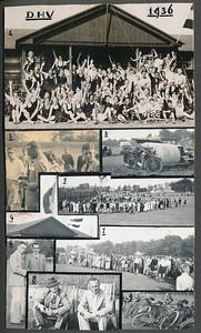 19360913 Opschrift: DHV 1936 Opmerking: foto's van de Onderlinge Hockeydag op 13 september 1936 en de voorronde Hockeydag op 20 september 1936. Zie Clubnieuws oktober 1936. Daar verslagen. Daar is deze compilatie afgedrukt op p. 6. Onderschrift daar: Bij de fotopagina: 1. de deelnemers aan de onderlinge hockeydag voor het clubhuis verzameld 2. voorzitter Drijver reikt de prijzen uit aan captain Stenvers (links), rechts kijkt secretaris Blom een beetje sip vanwege zijn verloren tanden (in verslag: De secretaris was dit keer minder gelukkig daar hij twee tanden in den strijd liet!) 3. te koop: een zware rol, daaromheen een gedeelte van het uitgebreide autopark bij de  voorronde hockeydag. 4. de vlaggen in top op het clubhuis, links het geel=zwart, rechts het rood=wit=blauw. 5 en 7 bij het nemen van doelschoten was de belangstelling steeds groot. 6. de goalgetters van het eerste op de hockeydag, Kakebeeke (l.) en v.d. Mandele. 8. de bondsvoorzitter bn. van Pallandt volgt met voorzitter Drijver de wedstrijden./ 9. een gedeelte van het weer overvolle fietsenpark.  Jan Blomcremealbum Fotograaf: onbekend Formaat: 17.5 x 10  Afdruk zw