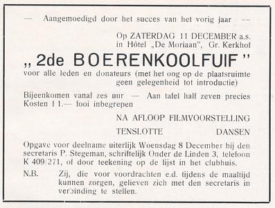 19371211 Aankondiging 2de Boerenkoolfuif 11 december 1937.   Clubnieuws december 1937
