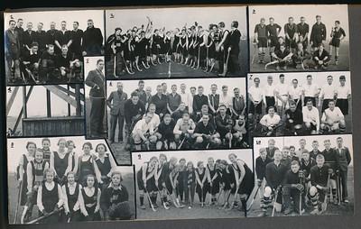 193803 Onderschrift: geen Opmerking: afgedrukt in Clubnieuws Maart 1938 met als onderschrift:  Bij de fotopagina:  1. Het 5e elftal, bijna kampioen der 3e klasse C met voorzitter Drijver als invaller. 2. drie hoera's voor Prinses Beatrix. Het tweede elftal (links) en het derde in actie.  3. Deventer 2, kampioen 2e klasse A. 4. Een kijkje door het clubhuis in aanbouw. 5. Scheidsrechter Broekhuis in een karakteristieke houding.  6. Het derde en vierde elftal voor den strijd. 7. Deventer 6.  8. Het derde dameselftal. 9. Deventer 2 dames. 10. Ons jongste elftal, Deventer 7.   CollectieJanBlomcremealbum Fotograaf: onbekend  Formaat; 20 x 12 Afdruk zw