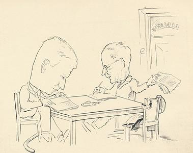 193811 Uit Clubnieuws november 1938, p. 15  Opmerking: Jan Blom en Herman Ankersmit als redacteuren Clubnieuws. Tekening door? Ws. Mini Peters   Formaat;15 x 13