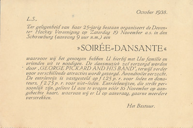 19381119 Uitnodiging voor dansavond 19 november 1938 Lustrum 1938  CollectieHorstBruijnzwartalbum Formaat: 15 x 10