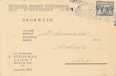 19381119  Voorzijde uitnodiging dansavond 19 november 1938 Lustrum 1938 Wel over de post. Gestempeld 1 november 1938.   CollectieHorstBruijnzwartalbum