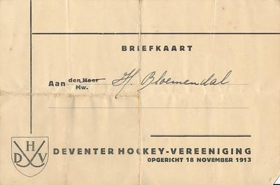 19381119 Voorzijde aanschrijfkaart. NIet over de post kennelijk. Werd in de bus gedaan door lid.   CollectieHorstBruijnzwartalbum