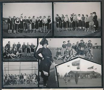 19381119 Onderschrift: geen Gepubliceerd in Clubnieuws December 1938, p. 46. Daar onderschrift:  1 en 2. De Damesveteranenelftallen: v.l.n.r. Mevr. Ankersmit-de Boer, Mevr. v. Houten-Ankersmit. Mevr. Houwink-Dietrich, Mevr.Vervoort-v.Overeem, Mevr. Koppius-Eldik, Mevr. Uyt den Bogaerd-Biberle, Mevr. de Vries-Doodeheefver, Mej. Stegeman, Mevr. Prakken-Vuerhard, Mevr.Cramer-Broekhuis, Mevr. Kosters-Kirby, Mej. de Josselin de Jong, Mej. Mr. A. Ankersmit, Mevr. Peters-v.d.Saag, Mevr. Lugard-de Ranitz, Mevr. Ankersmit-Bloemendal, Mevr. Bakker Schut-de Iongh, Mej. Resius, Mej. Delwig, Mej. Houck, Mej. C. Ankersmit,. Elftal 1 won na verlenging. foto 3. De bondsveteranen die de onzen met 5-1 versloegen; foto 4. Een Twellosche boerendochter was op z'n Zondags present; foto's 5 en 6. Twee elftallen van onze gasten n.l. de dames van H.H.IJ.C en de heeren van Groningen; foto 7. Onze vlag en die onzer gasten wapperden vroolijk op het clubhuis, v.l.n.r. de vlag van P.W., Deventer, (daaronder Groningen) Amsterdam en H.H.IJ.C.  Foto's grotendeels ook ook in fotolustrumboek 1938, soms iets ander moment.  CollectieJanBlomcremealbum Fotograaf: Chr. v.d. Mandele (volgens Clubnieuws) Formaat 18 x 17  Afdruk zw