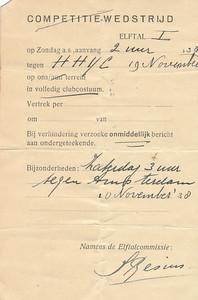 19381119  Aanschrijfkaartwedstrijd voor twee lustrumwedstrijden Opmerking: ws. de normale aanschrijfkaart voor alle wedstrijden  CollectieHorstBruijnzwartalbum  Formaat: 15 x 10