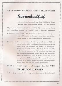 19400203 Aankondiging Boerenkoolfuif Deze fuif werd verplaatst naar 20 januari 1940 in de Foyer van de Schouwburg. Zie verslag Clubnieuws februari 1940.   Clubnieuws januari 1940