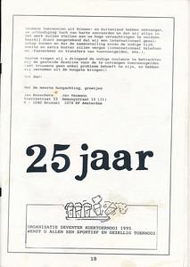 19950527nr18 Boekje tgv Koektoernooi 1995   Collectie Henk Pott   Formaat: A4