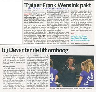 20160415 Artikel De Stentor 15 april 2016 over nieuwe coacht voor Dames 1, Frank Wensink.