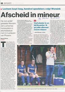 20160612 Artikel in De Stentor 13 juni 2016. Over Frank Wensink, trainer/coach Dames 1DHV 2016-2017