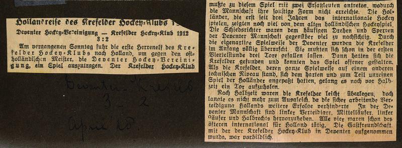 19280304 Onderschrift: Deventer-Krefeld 3-2 April '28 Opmerking: behoort bij foto. Zie verder daar.    CollectieBakkerSchutkleinalbum Fotograaf: nvt Formaat: nvt