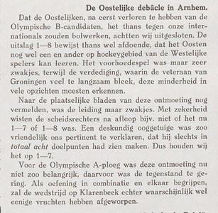 19280219  Verslag Oostelijk elftal - Olympisch A   De Corinthian jrg. 5 1928 nr. 8 24-2-1928p. 145