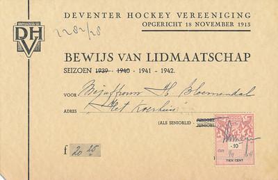194109 Bewijs van lidmaatshap D.H.V 1941-1942  CollectieHorstBruijngrijsalbum Formaat: 16 x 10