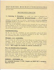 19421031nr1 Mededelingenblad 31 oktober 1942. Blad 1. Clubnieuws verscheen niet meer.   ArchiefDHV