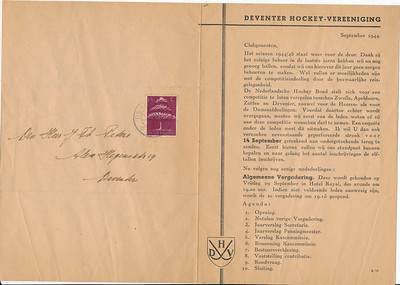 194409 Medelingenblad september 1944, blad 1  ArchiefDHV
