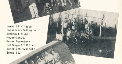 Onderschrift: Heren III '48-'49 Hasselaar, Teding v. Berkhout, Klunk, Meyer, Schut,  Onder: Doornbos, Hettinga, Grothe v. Schellach, v. Asselt, Schnelle Foto ook in collage. Daar de namen beter.   Clubnieuws 15 (1953-1954) 2 november, p. 22