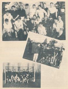 194903 Onderschrift: zie fotopagina  Opmerking: uiterst rechts Henk Bakker Schut knielend vierde van rechts met donkere trui met V-hals Peter Bakker Schut.     Clubnieuws 10 (1949) 5, maart 1949 p. 11 Fotograaf: onbekend