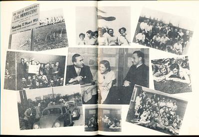 1951 Onderschrift op pagina 8: Links drie stuks van de wedstrijd in Tiel, waar onder enorm moddergespat ons heren tweede, lachend en ontoonbaar vanwege de spetters, ten onder gingen. We ontwaren op de onderste photo, tweede van links nog onze vriend Willy Tempelman, die thans onder de hete tropenzon nog wel eens aan deze wedstrijd zal terugdenken. Dat was op 4 maart 1951. Zie Clubnieuws maart 1951, p. 8 een verslag. Middenin prijkt, ook al niet somber gestemd het, we mogen wel bijna zeggen kerntrio van D.H.V. Joke en Wim, die binnen korten tijd naar Nieuw Zeeland zullen gaan, en Bob Meyer, de grote baas.  Dus Joke Vervoort en Wim ten Hove. Ze worden geflankeerd door zonnige photo's van zonnige leden, die er hun gemak eventjes van nemen tijdens de hockeydag. Dat was dus waarschijnlijk voorjaar 1951. Datum nog niet gevonden.  Rechts bovenaan, de trots der natie, de stoere strammen, de 'ouwe' getrouwen, kortom, onze veteranen. Met hun collega's uit Amsterdam.  Dit lijkt mij in Amsterdam. Wanneer niet in Clubnieuws gevonden . De foto rechtsboven en de foto daarnaast met de dames ook in Lustrumnummer 1953, p. 32.   Clubnieuws 12 (1950-1951) no. 7/8 mei juni 1951 p. 6 en 7.