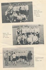 195605 Onderschrift: zie foto  Opmerking: Dames II met Marijke Roos en Loes Roos  Bij Dames III o.a. Liesbeth Holthuis en Arda Stegeman Mogelijk is dit na de wedstrijd op 15 april 1956 thuis tegen EHV. Opstelling: T. Pelgrim, E., Kelder, K. Krom, Bosch, Schroder, M. Snell, A. Snell, Arda Stegeman, TULNER, v.d. Eyken, Doedijns. Zie De Telescoop 11 april 1956. Daarin staat dat Dames III kampioen kan worden die zondag. Afhankelijk van de uitslag tussen Hengelo 2 en P.W. 3.    De bovenste foto is ook opgenomen in De Telescoop 1973 lustrumnummer p. 14 met als onderschrift: Ook onze dames hadden meermalen reden de vlag uit te steken. Deze foto uith etl ustrumnummer opnieuw gescand.   Clubnieuws 17 (1955-1956) 6 p. 5 Fotograaf: onbekend Formaat: 20 x 14 Afdruk zw