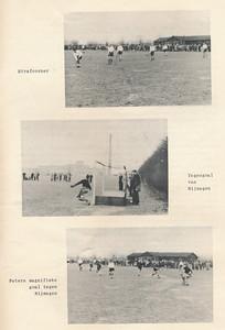19560325 Onderschrift: zie foto Opmerking: beelden uit de wedstrijd thuis van Heren I tegen Nijmegen I op 25 maart 1956. Zie De Telescoop 21 maart 1956. 1-1. Zie verslag Clubnieuws april 1956 p. 11.   Clubnieuws 17 (1955-1956) 5 p. 15 Fotograaf: onbekend Formaat: 20 x 14 Afdruk zw