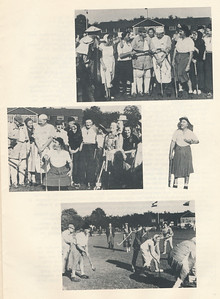 19581005 Onderschrift: op p. 7: Op de andere een aantal fraai uitgedoste figuren uit vroeger dagen, die tijdens het tournooi een demonstratiewedstrijd hebben gespeeld (met zeer veel succes en onder grote bijval van het talrijke publiek) en nogmaals ex-voorzitter Meijer, thans als een soort van Kenau Simonsz Hasselaar, naar onze smaak de vrouw van het veld.  Opmerking: lustrumwedstrijden op 5 oktober 1958. Verslag zie Clubnieuws Van deze wedstrijd is een film gemaakt door Johan van dijk. T.z.t. hier toevoegen.   Clubnieuws 20 (1958-1959) 2, p.5 Fotograaf: Johan van Dijk  Formaat: 20 x 14 Afdruk zw