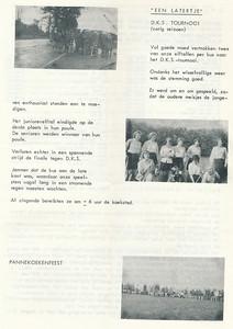 19630419 Onderschrift: zie foto Opmerking: blijkens de toernooikalender in Clubnieuws april 1963 p. 14 was het toernooi bij DKS op 19 april 1963. Voor meisjes junioren (2 elftallen). Dat klopt dus.  De onderste foto is niet bij  DKS maar bij de onderlinge hockeydag in Deventer op 5 mei 1963. Zie verslag in Clubnieuws mei 1963, p. 9.   Clubnieuws 25 (1963-1964) 2 (oktober),p.5
