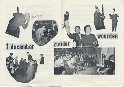 19621201 Onderschrift: zie foto Opmerking: Sinterklaasfeest 1 december 1962. Volgens mij Piet Everwijn op bas. Verder Appie Kolkman met Annie. Die foto ook in stukje Telescoop. Seger Klunk voor Sinterklaas. Bij de kinderen tweede van rechts Eef Kooij.   Clubnieuws 24 (1962-1963) 4 (= 3) p. 8 en 9 Fotograaf: onbekend Formaat: A 3  Afdruk zw
