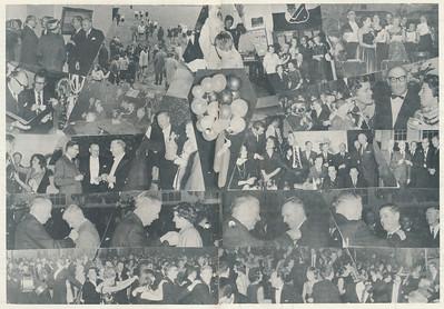 19631108 Onderschrift; geen Opmerking: foto's van lustrum op vrijdag 8 november 1963 en zaterdag 9 nobember 1963.   Clubnieuws 25 (1963-1964) 4 p.8 en 9 Fotograaf: onbekend Formaat: nvt Afdruk zw