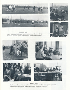 19660411 Onderschrift: zie foto  Opmerking: Semvet-toernooi op Tweede Paasdag 11 april 1966.  Mevrouw Krom zit op de onderste foto links helemaal rechts (jwb) Op de foto daarboven m.i. uiterst rechts Caroline Persenaire (jwb)   Clubnieuws 27 (1965-1966) 4, p. 13  Fotograaf: onbekend  Formaat: nvt    Afdruk zw