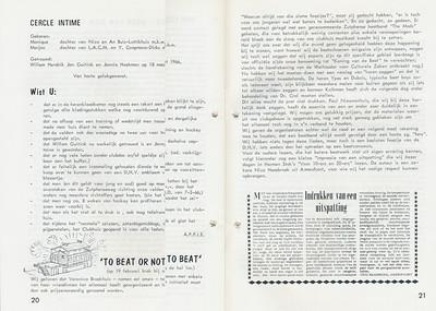 19660219 Onderschrift: zie foto Opmerking; beatfeest op 19 februari 1966 georganiseerd door Veronica Broekhuis e.a. Een van de eerste beatfeestjes.   Clubnieuws 27 (1965-1966) 3, p. 20 en 21    Fotograaf: onbekend  Formaat: nvt   Afdruk zw