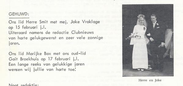19670215 Onderschrift: zie foto  Opmerking: Herre Smit   Clubnieuws 28 (1967) 2 p. 28  Fotograaf: onbekend Formaat: nvt Afdruk zw