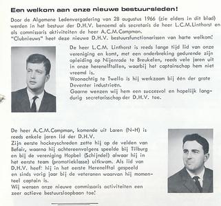 196609 Onderschrift: zie foto  Opmerking: Louis Linthorst en Campman   Clubnieuws 27 (1966) 6, p. 13 Fotograaf: onbekend Formaat: nvt Afdruk zw