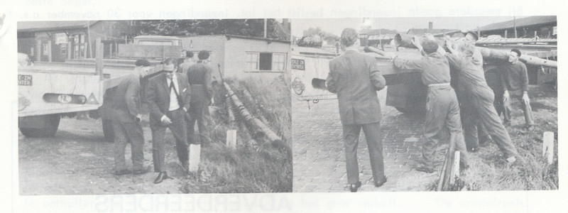 19661021 Onderschrift: geen. Bij artikel over plaatsing lichtmasten Opmerking: zie artikel in Clubnieuws  Ypes in de weer.  Clubnieuws 27 (1966) 6, p. 25  Fotograaf: onbekend Formaat: 14 x 5 Afdruk zw